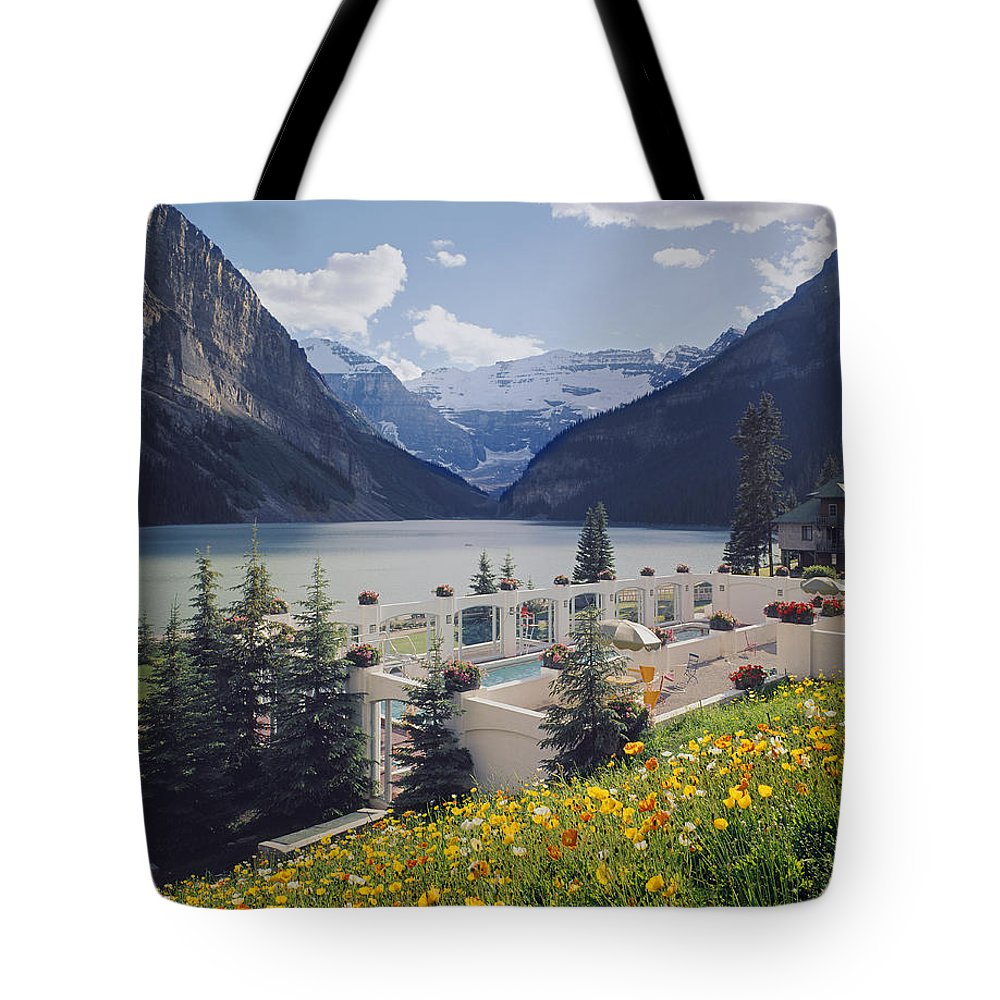 Lake Tote Bag featuring the photograph 1m3520-h-lake Louise Chateau by Ed Cooper Photography