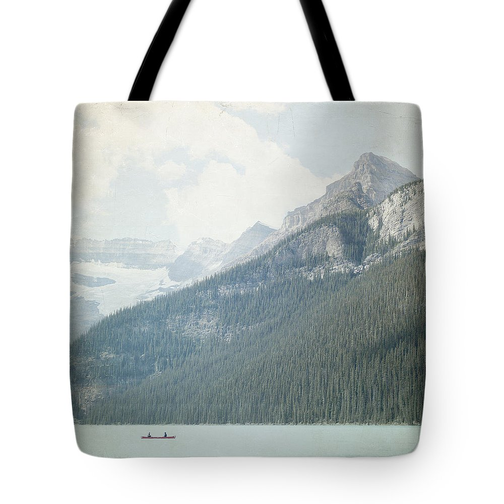 Rustic Wall Art Tote Bag featuring the photograph Lake Louise Solitude - Alberta Canada - Square by Lisa Parrish