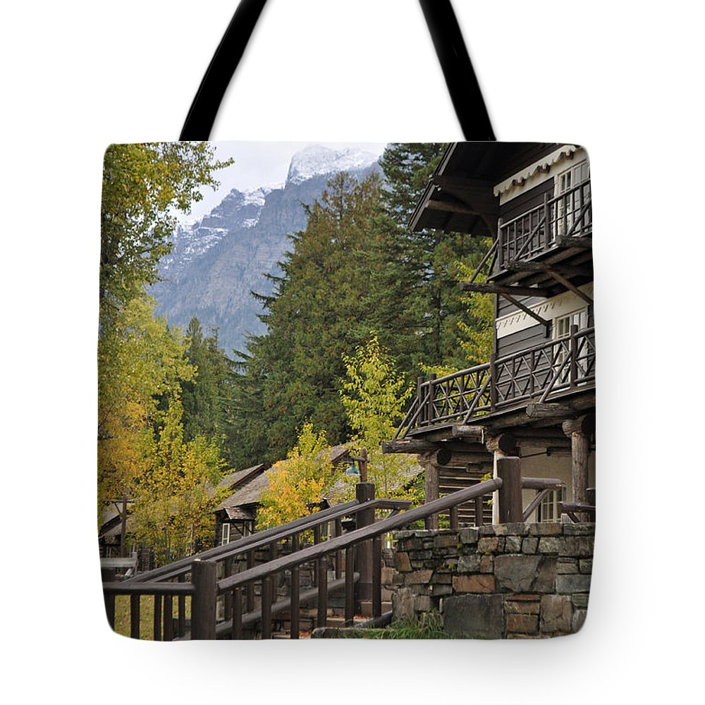 Lodge Tote Bag featuring the photograph Lake Mcdonald Lodge In Glacier National Park by Bruce Gourley