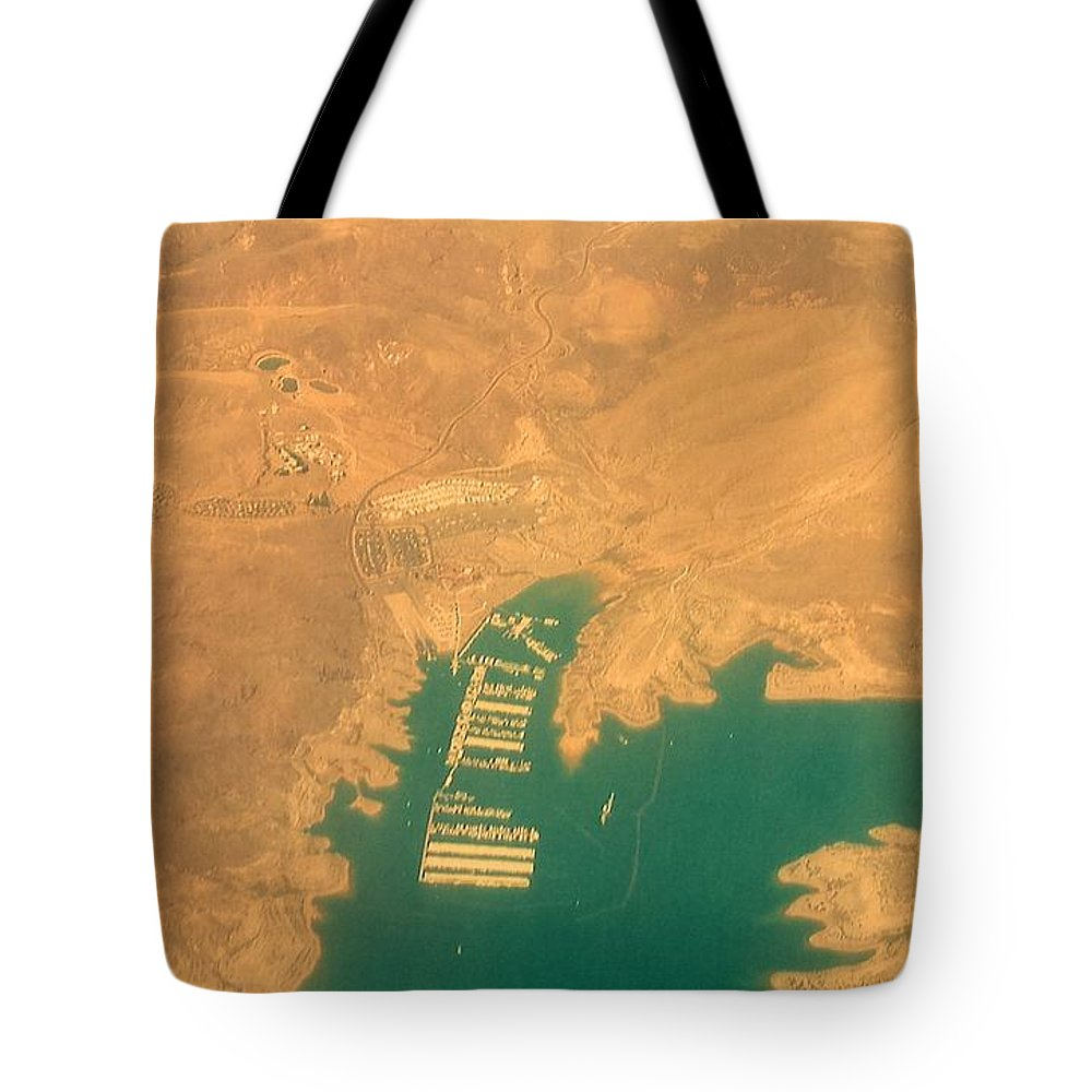 Lake Tote Bag featuring the photograph Lake Mead From The Air by Lisa Byrne