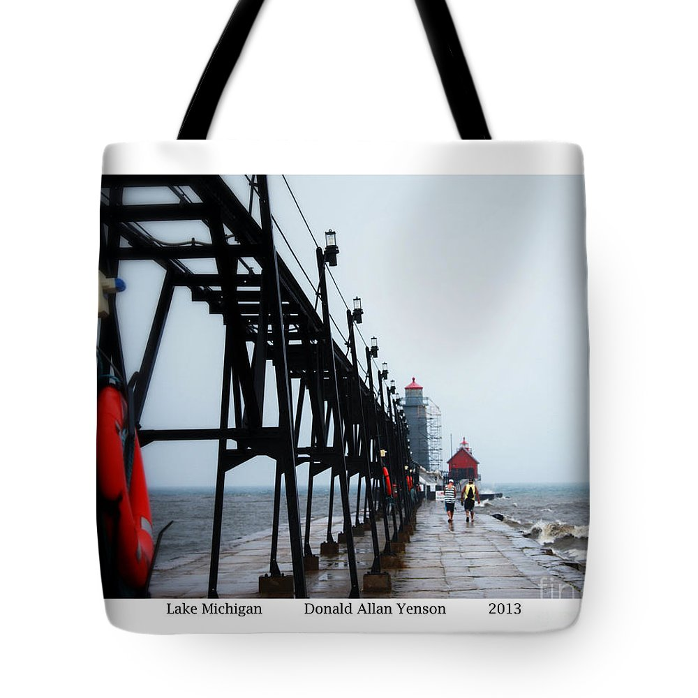Pier Tote Bag featuring the photograph Lake Michigan by Donald Yenson