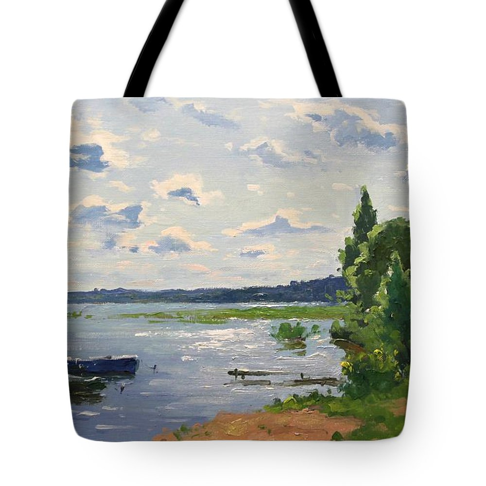 Tote Bag featuring the painting Lake Naroch by Alexander Alexandrovsky