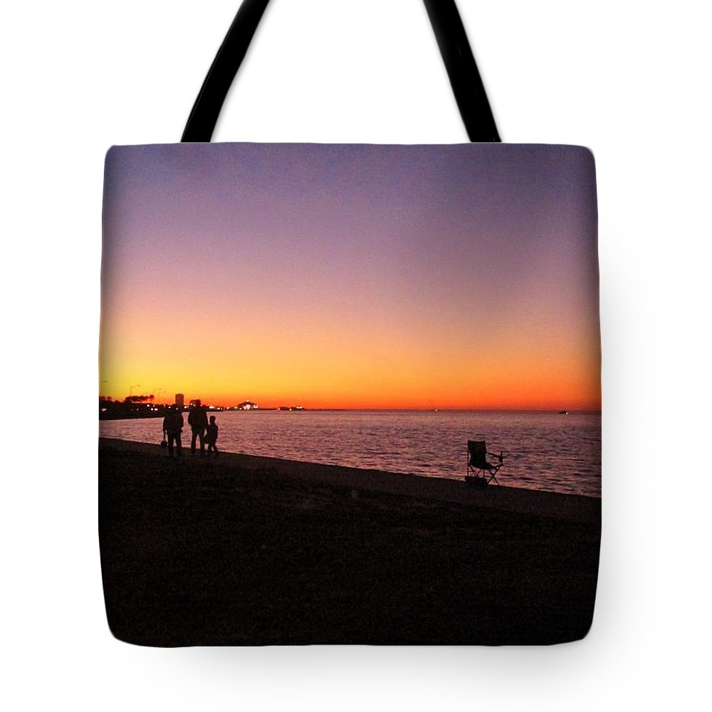 Lake Pontchartrain Sunset Tote Bag featuring the photograph Lake Pontchartrain Sunset by Deborah Lacoste