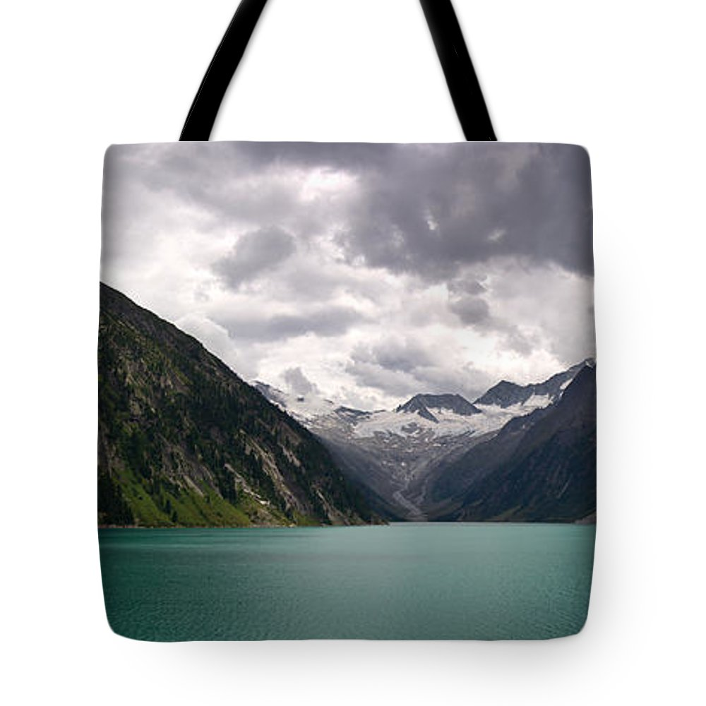 Tyrol Tote Bag featuring the photograph Lake Schlegeis by Thomas Richter