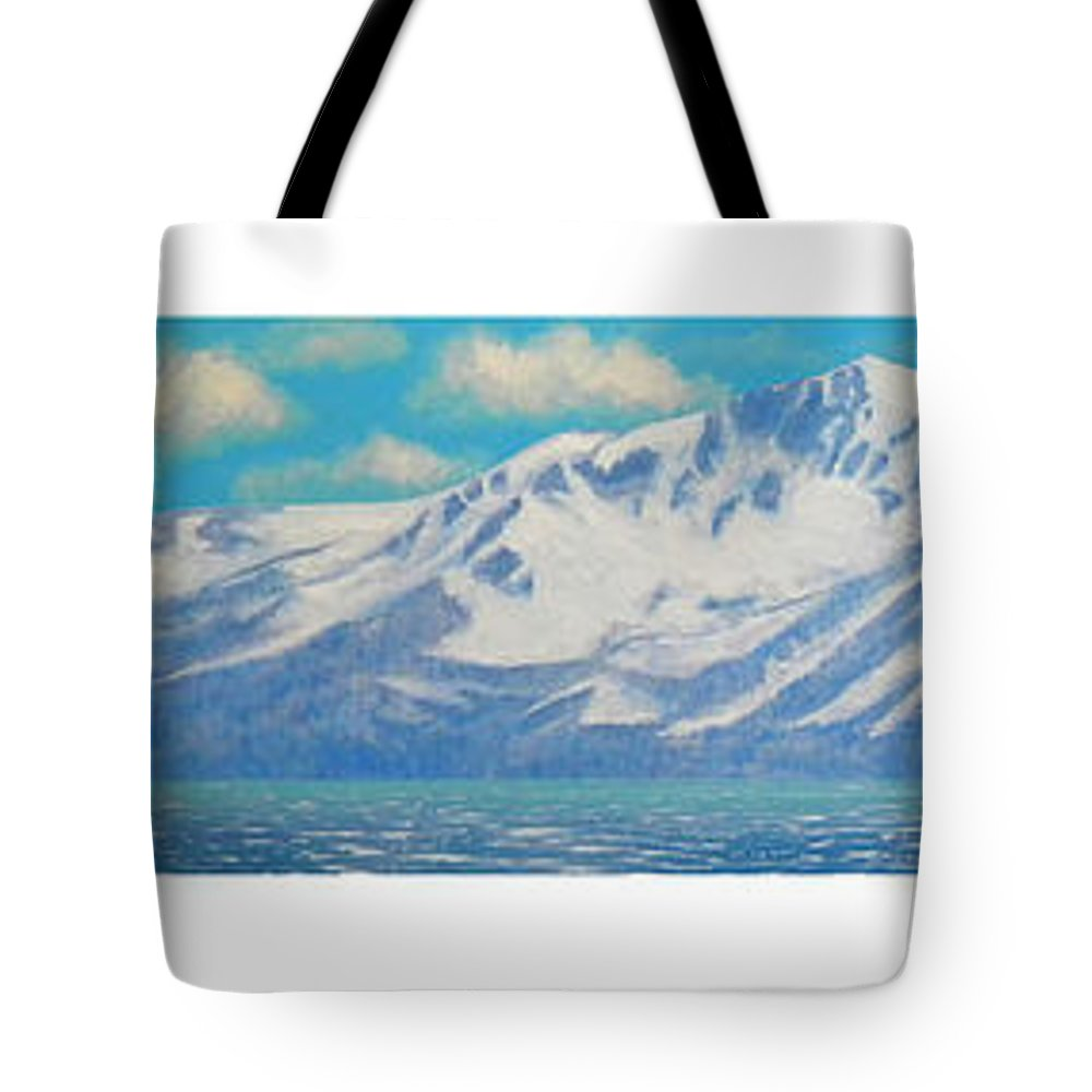 Lake Tahoe Tote Bag featuring the painting Lake Tahoe After The Storm Triptych by Frank Wilson