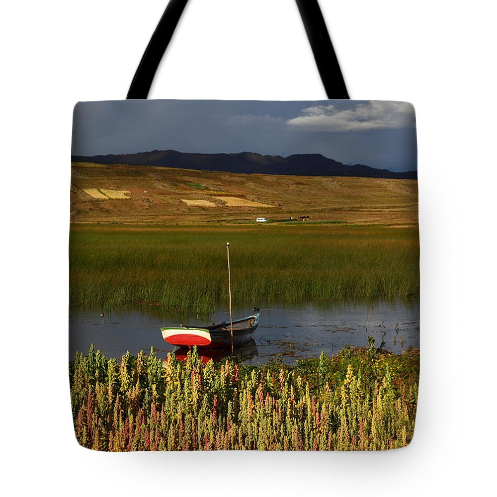 Agriculture Tote Bag featuring the photograph Lake Titicaca And Quinoa Field by James Brunker