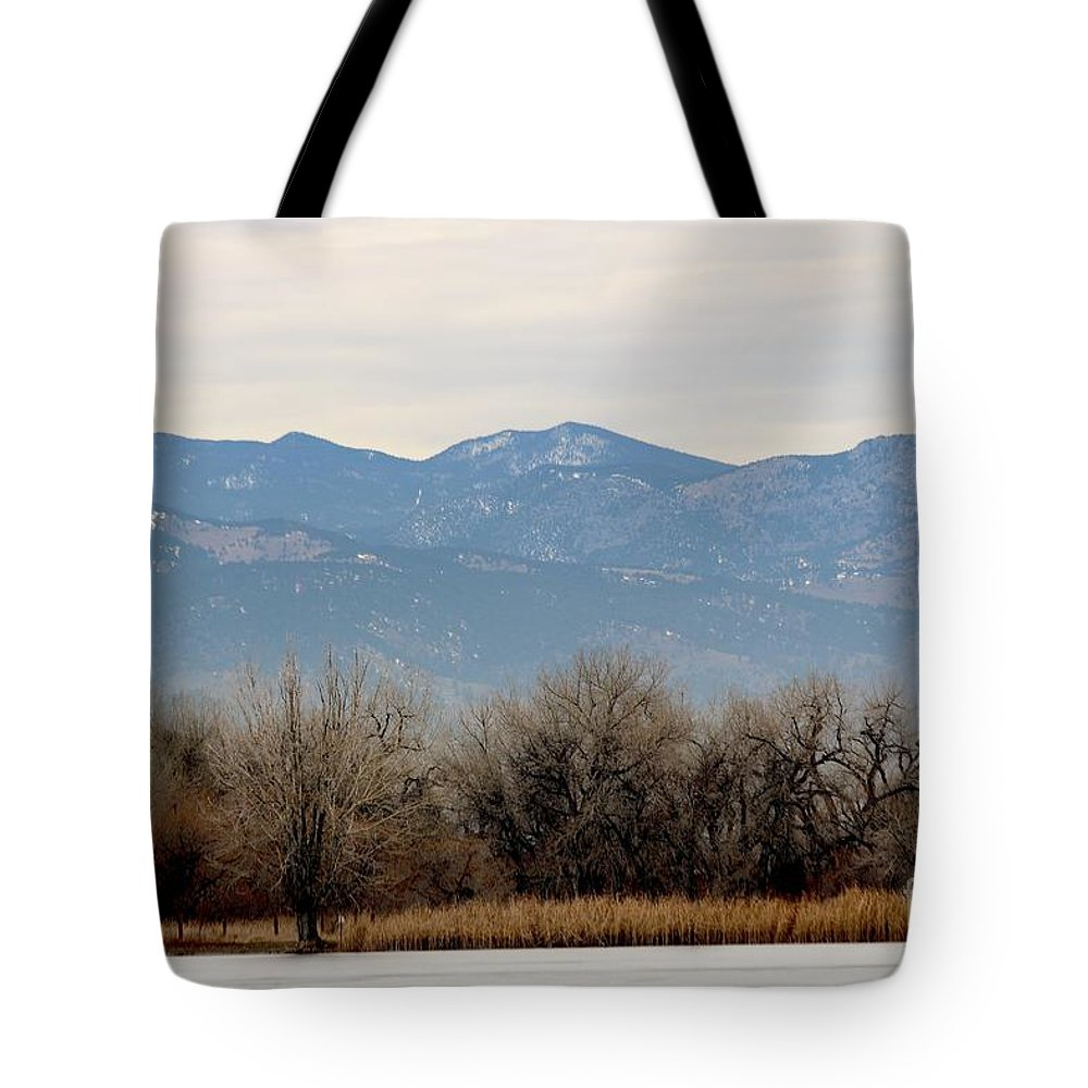 Lake Tote Bag featuring the photograph Lake Trees Mountains And Sky by Angela Koehler