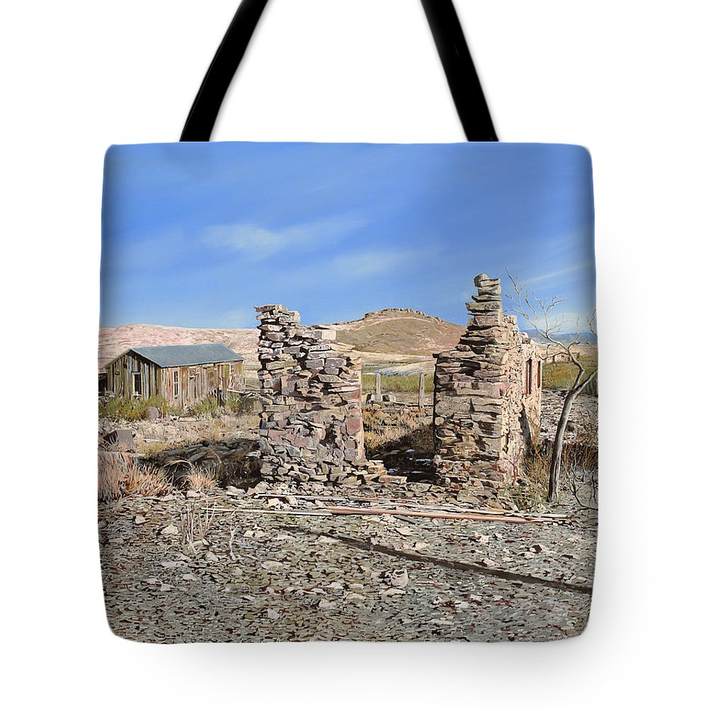 Lake Valley Tote Bag featuring the painting Lake Valley-new Mexico by Guido Borelli