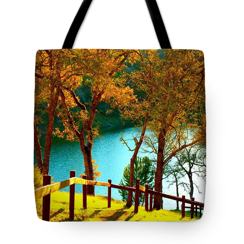 Trees Tote Bag featuring the photograph Lakeshore Lane by Stephen Edwards