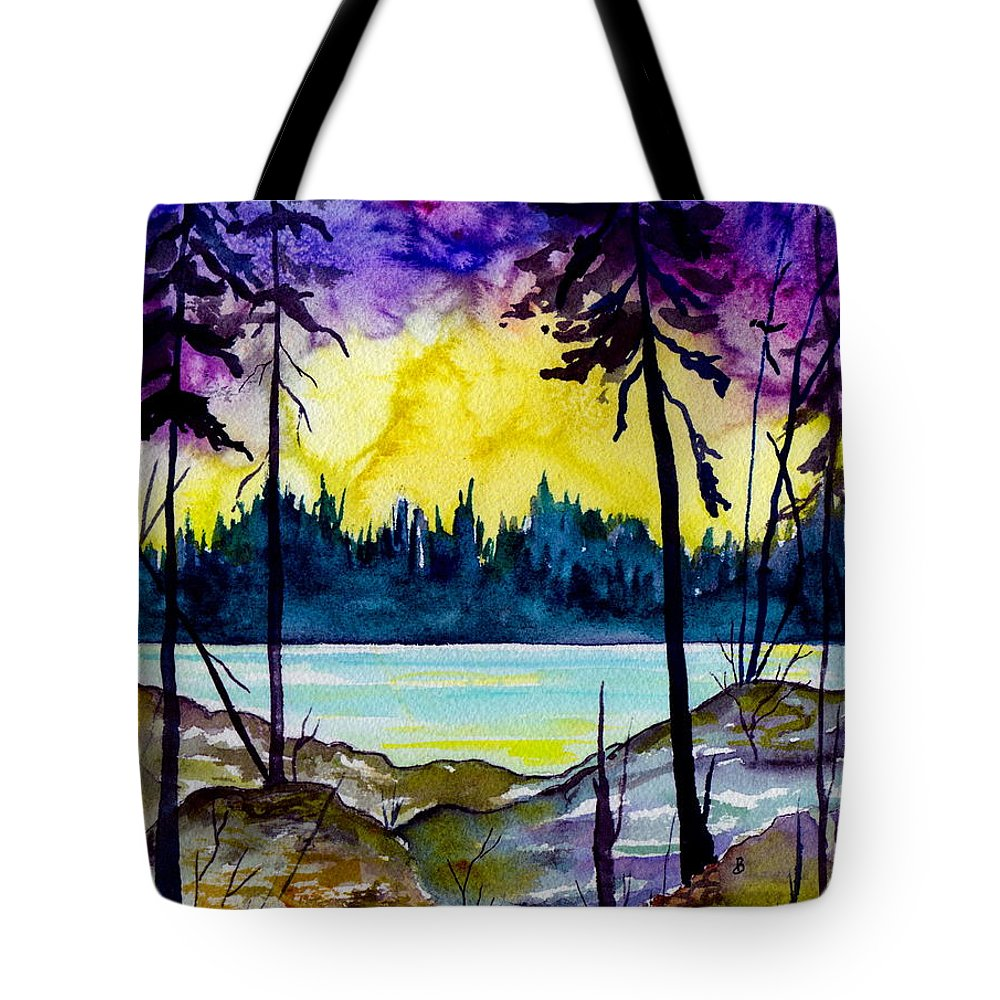 Landscape Tote Bag featuring the painting Lakeside by Brenda Owen