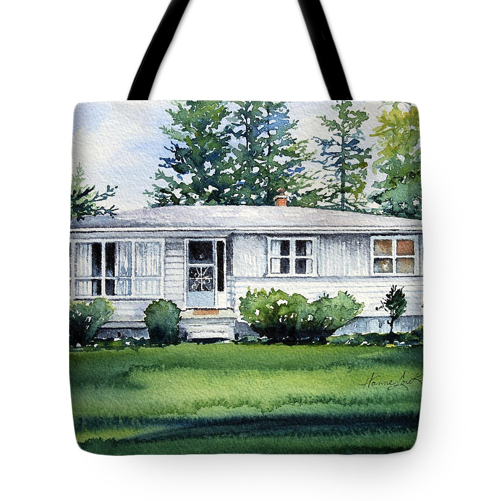 Cottage Tote Bag featuring the painting Lakeside Cottage by Hanne Lore Koehler