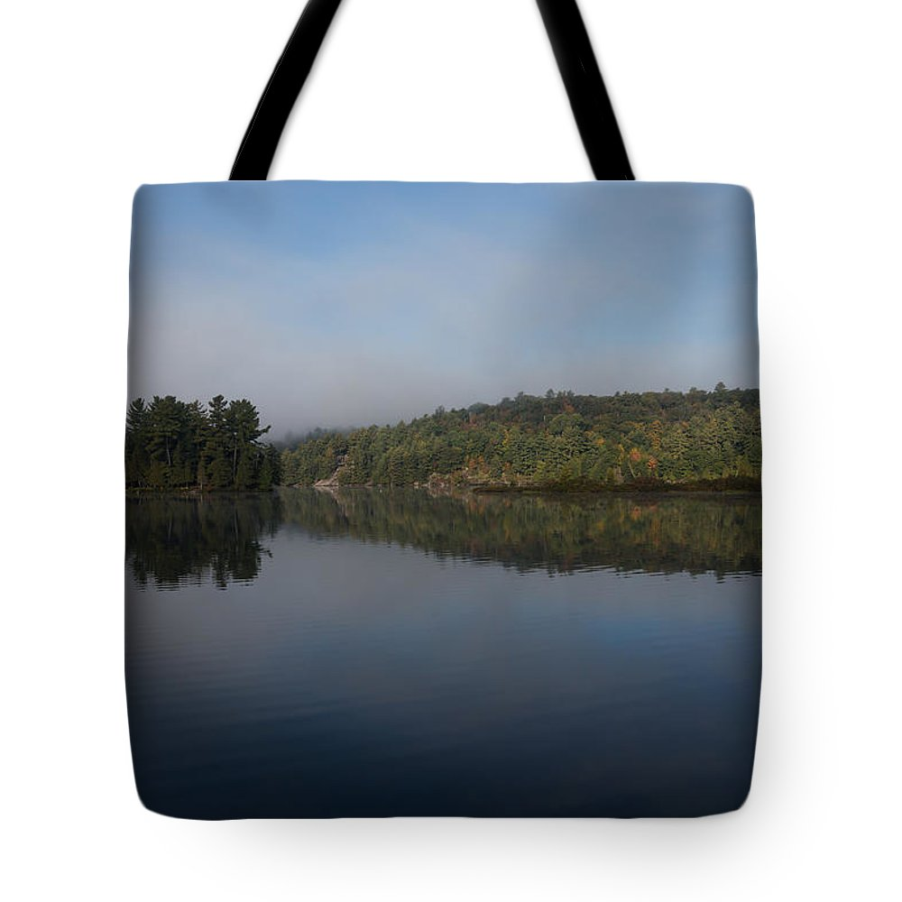 Lakeside Living Tote Bag featuring the photograph Lakeside Cottage Living - Gentle Morning Fog by Georgia Mizuleva