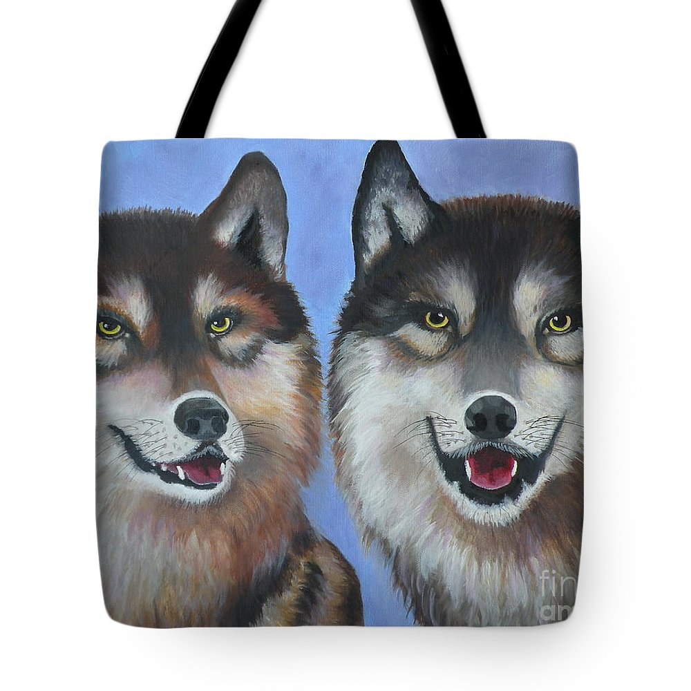 Wolves Tote Bag featuring the painting Lakota And Arapaho by Lora Duguay