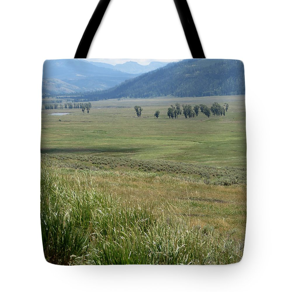 Lamar Valley Tote Bag featuring the photograph Lamar Valley Yellowstone National Park by Laurel Powell