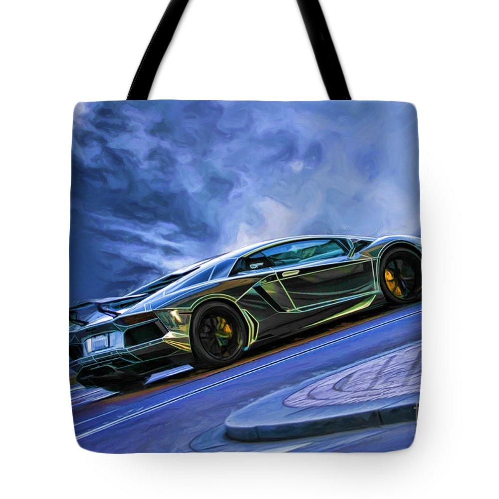 Lamborghini Tote Bag featuring the photograph Lamborghini Aventador by Blake Richards