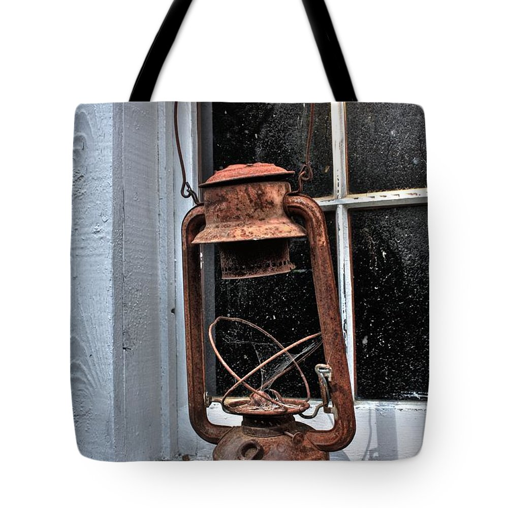 Red Barns Tote Bag featuring the photograph Lamp Light by David Matthews