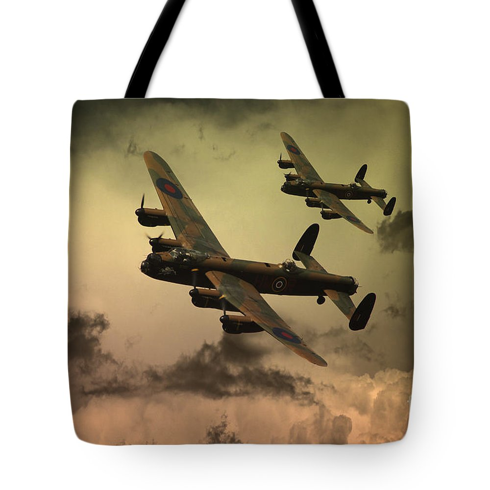 Raf Lancaster Bomber Tote Bag featuring the digital art Lancaster Fire In The Sky by J Biggadike