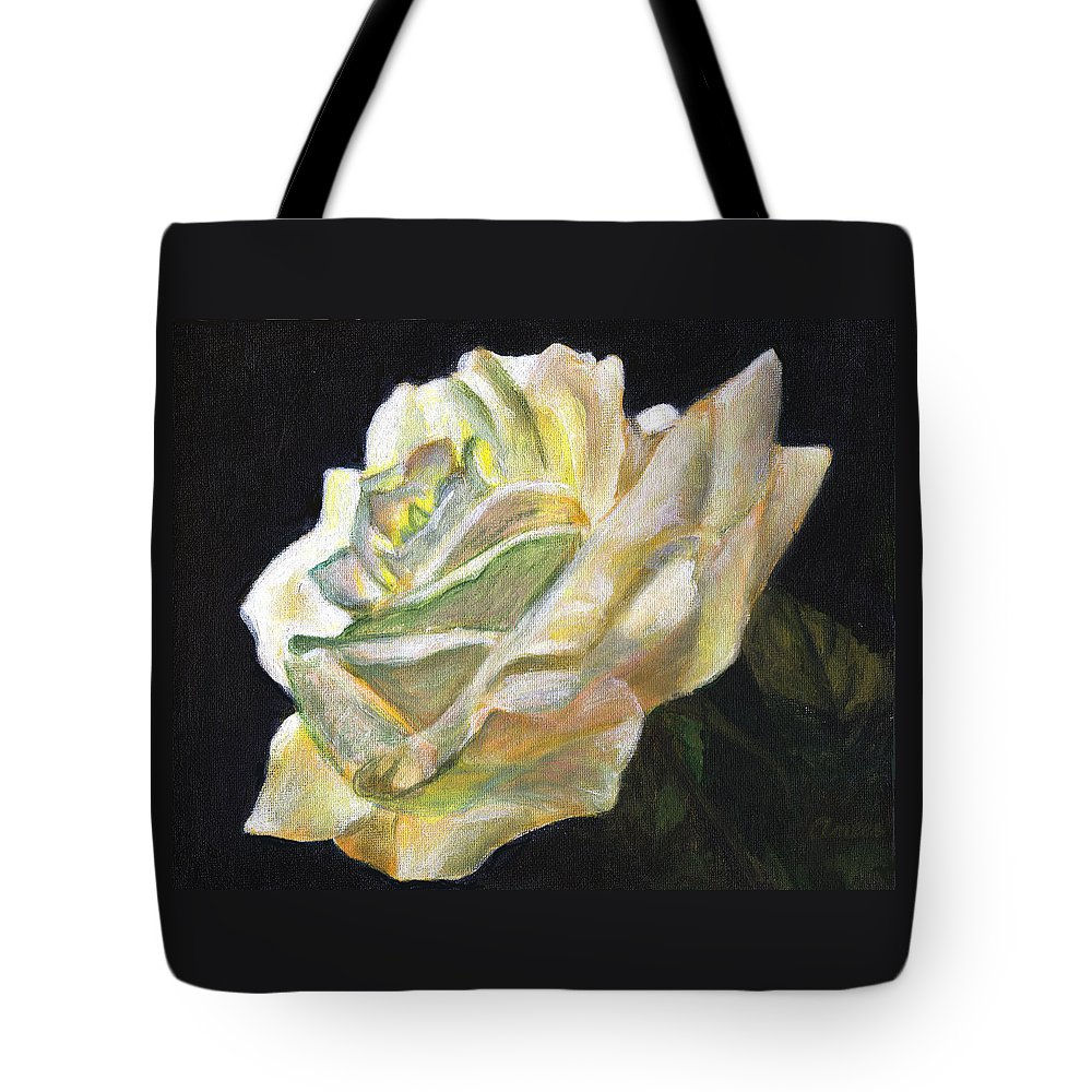 White Rose Tote Bag featuring the painting Summer Rose by Anees Peterman