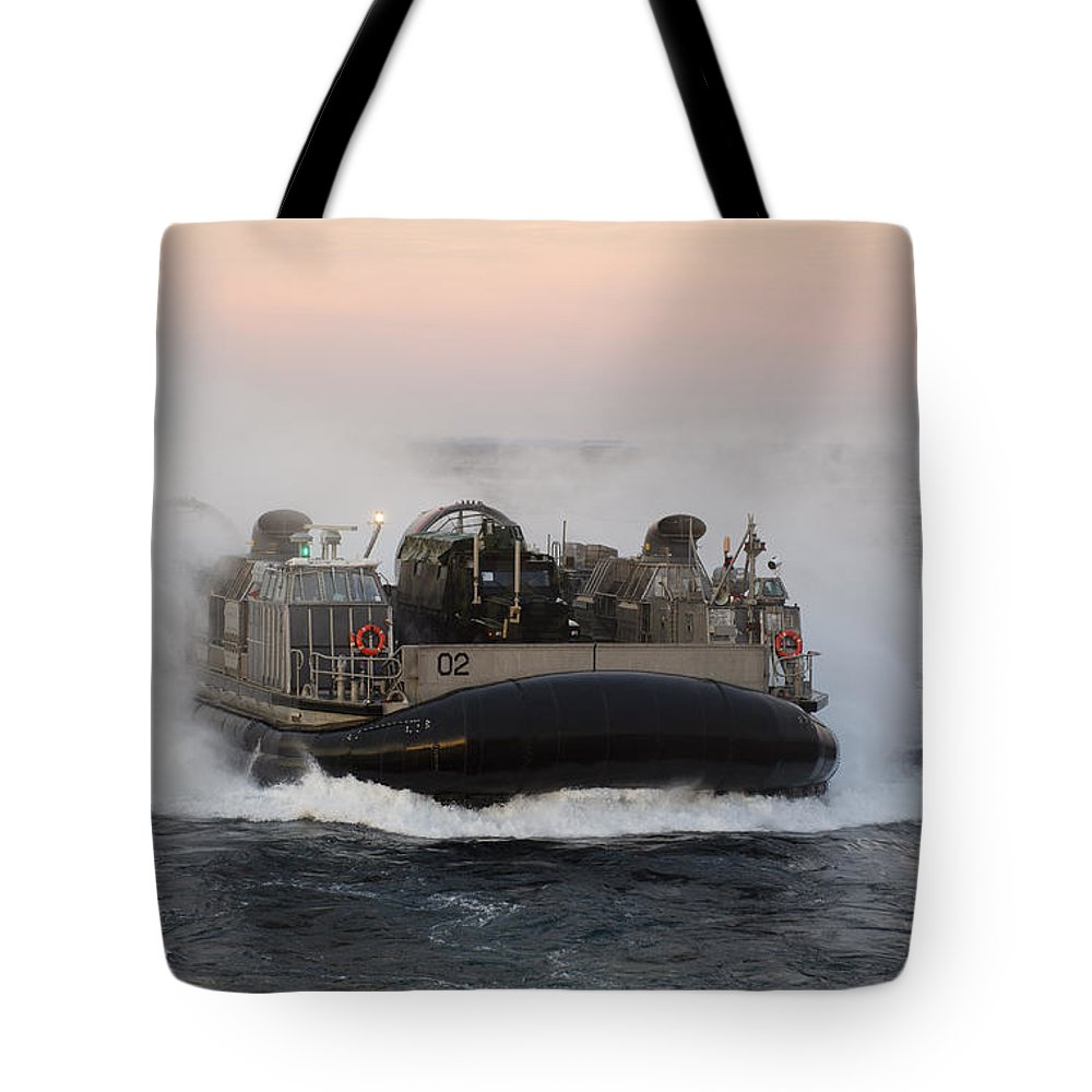 Military Tote Bag featuring the photograph Landing Craft Air Cushion Transits by Stocktrek Images