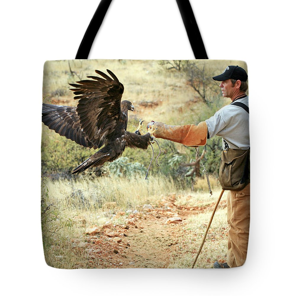 Golden Eagle Tote Bag featuring the photograph Landing One by Randall Ingalls
