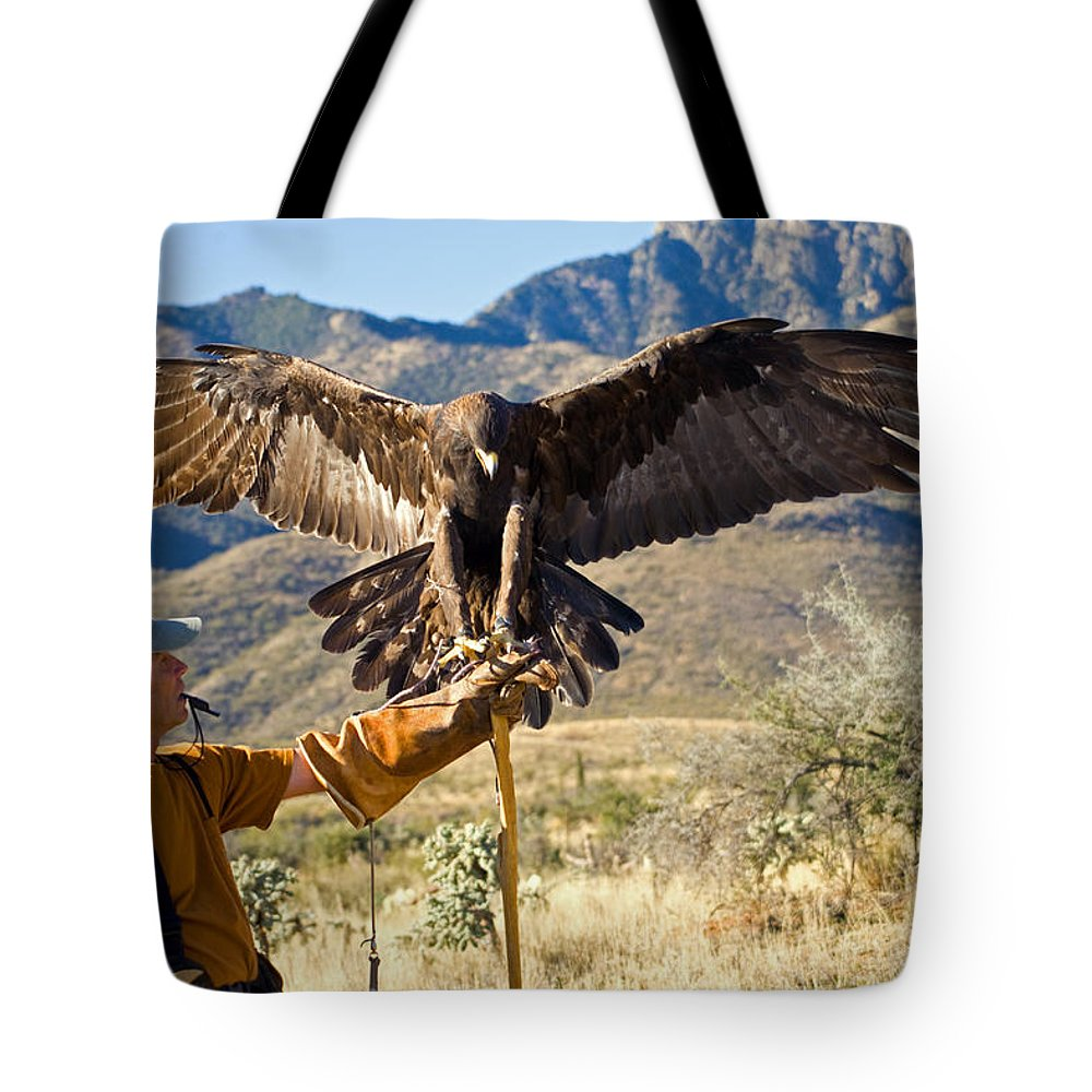 Golden Eagle Tote Bag featuring the photograph Landing Two by Randall Ingalls