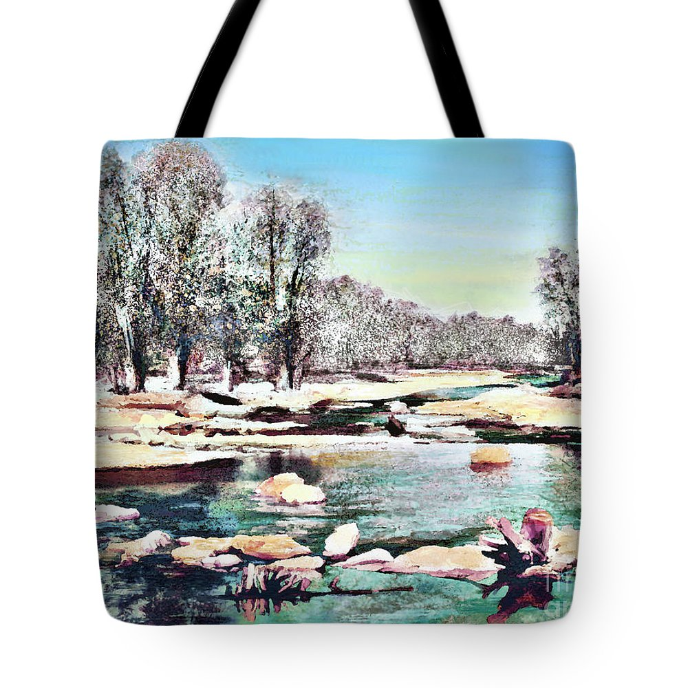 Theo Danella Tote Bag featuring the painting Landscape 1 by Theo Danella