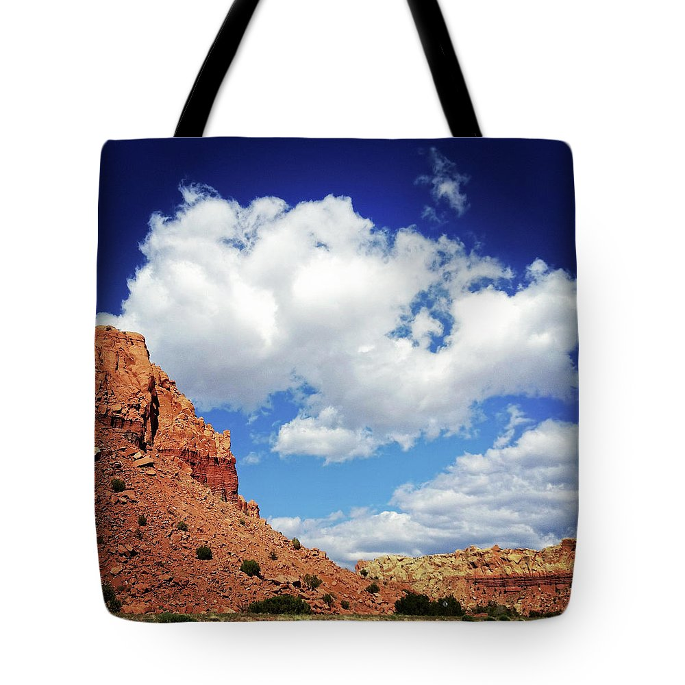 Scenics Tote Bag featuring the photograph Landscape Desert Badlands Sky by Amygdala imagery