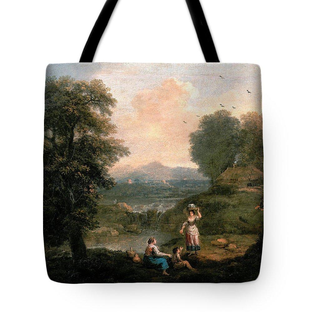 Francesco Zuccarelli Tote Bag featuring the painting Landscape by Francesco Zuccarelli
