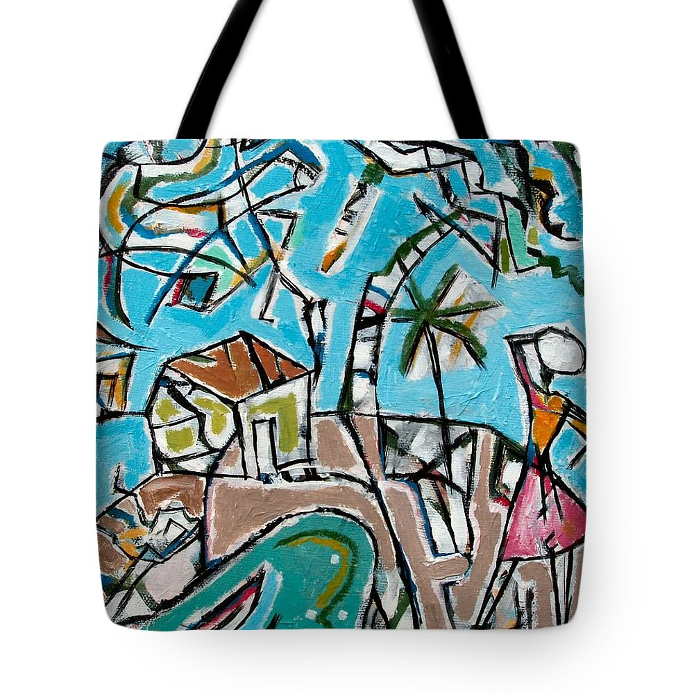 Landscape With Lavadeira Tote Bag featuring the painting Landscape With Lavadeira by Marcio Melo