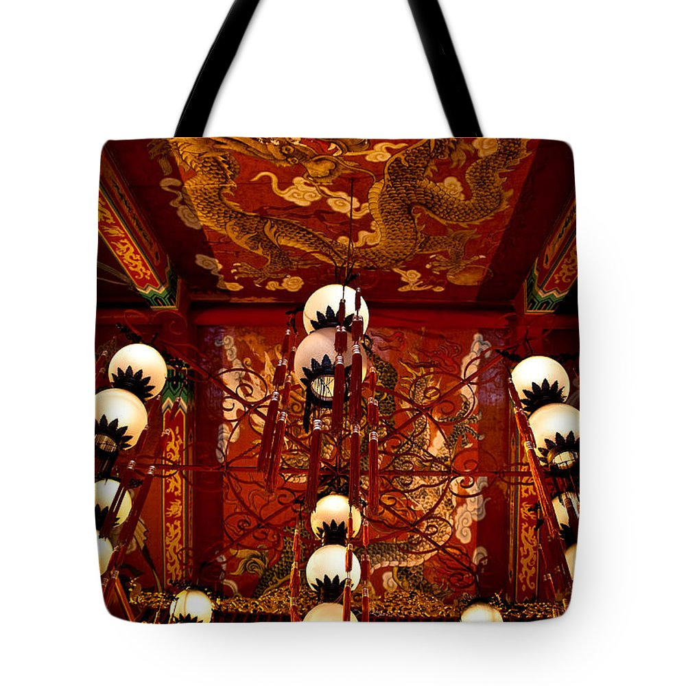 Hong Kong Tote Bag featuring the photograph Lanterns And Dragons by Venetta Archer