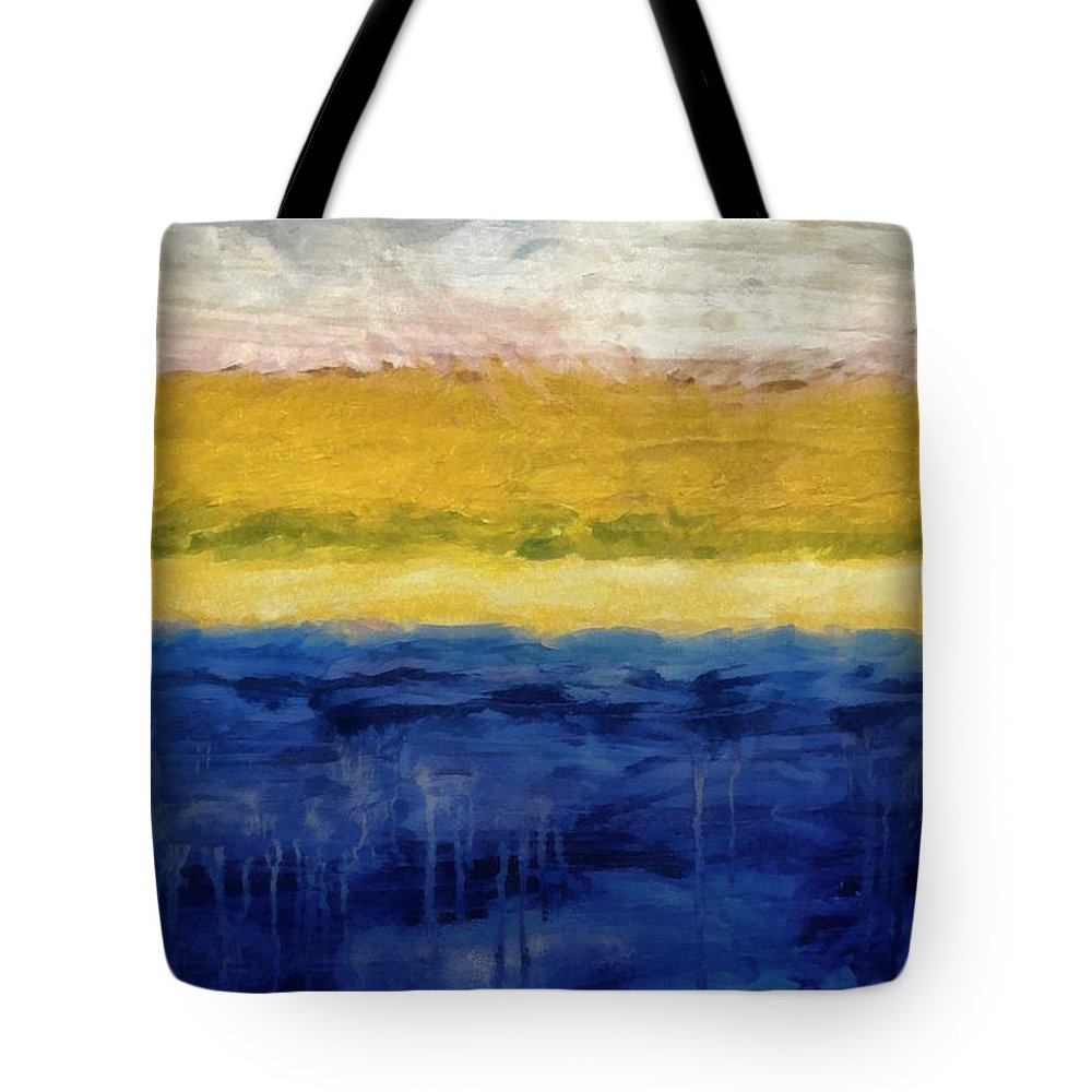Oceanside Tote Bag featuring the painting Lapis And Gold Get Married by Michelle Calkins