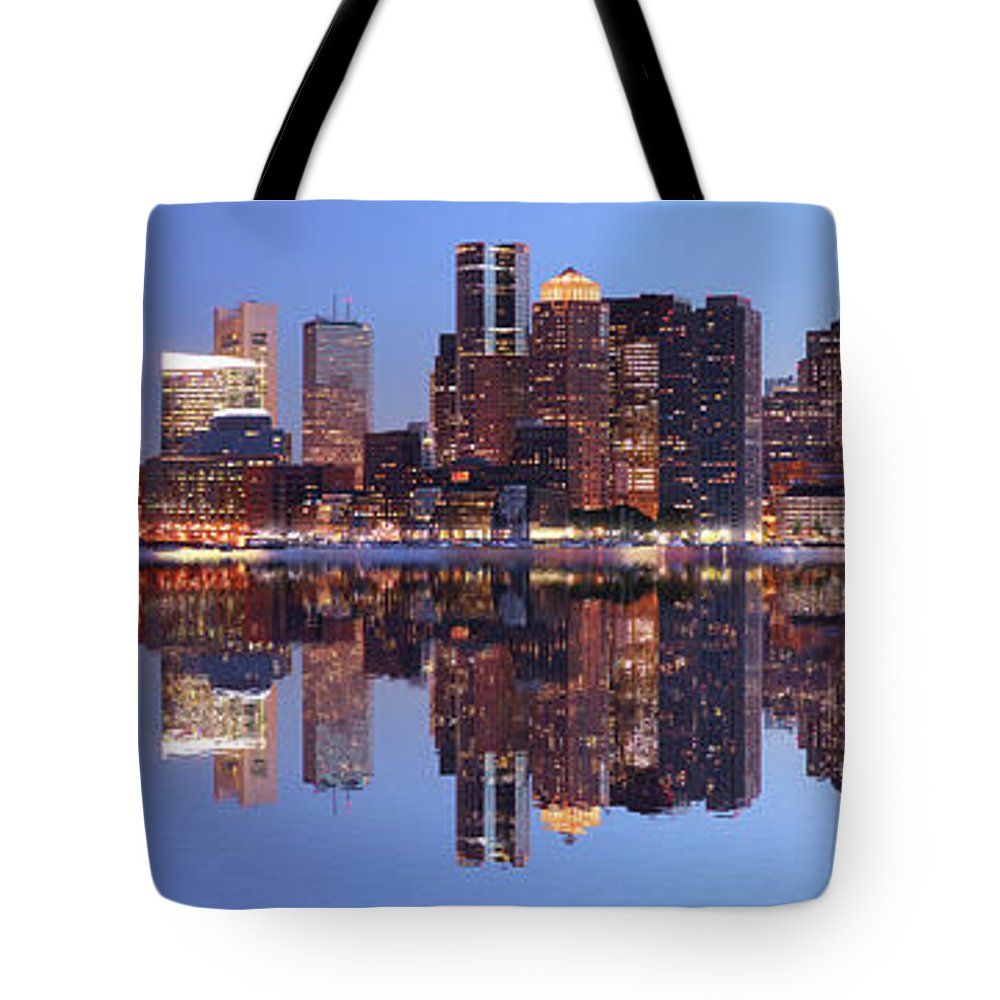 Water's Edge Tote Bag featuring the photograph Large Boston City Panorama At Night by Buzbuzzer