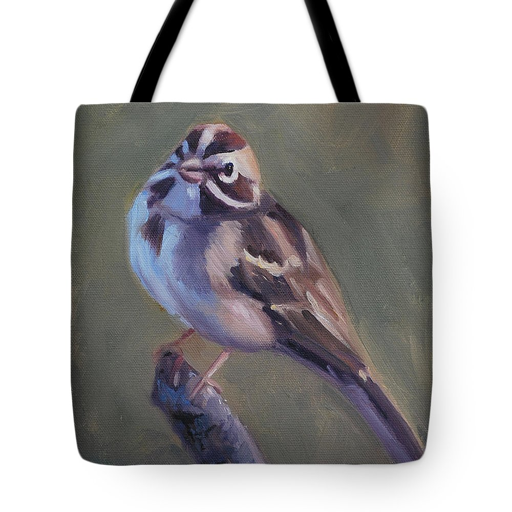 Birds Tote Bag featuring the painting Lark Sparrow by Billie Colson