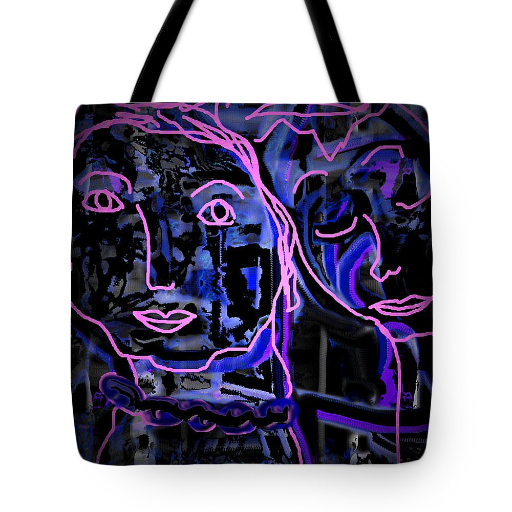 Faces Tote Bag featuring the mixed media Larry And Mary by Natalie Holland
