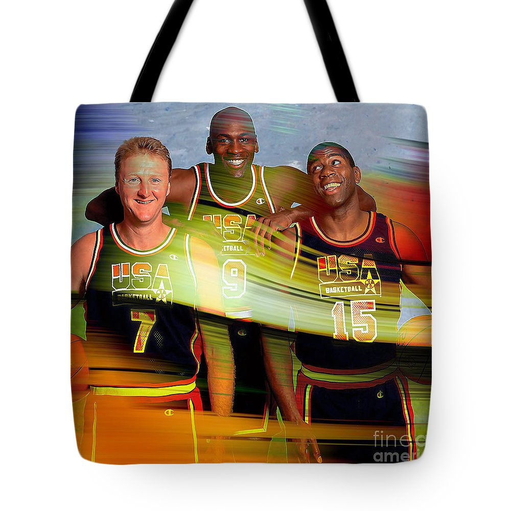 Tote Bag featuring the mixed media Larry Bird Michael Jordon And Magic Johnson by Marvin Blaine