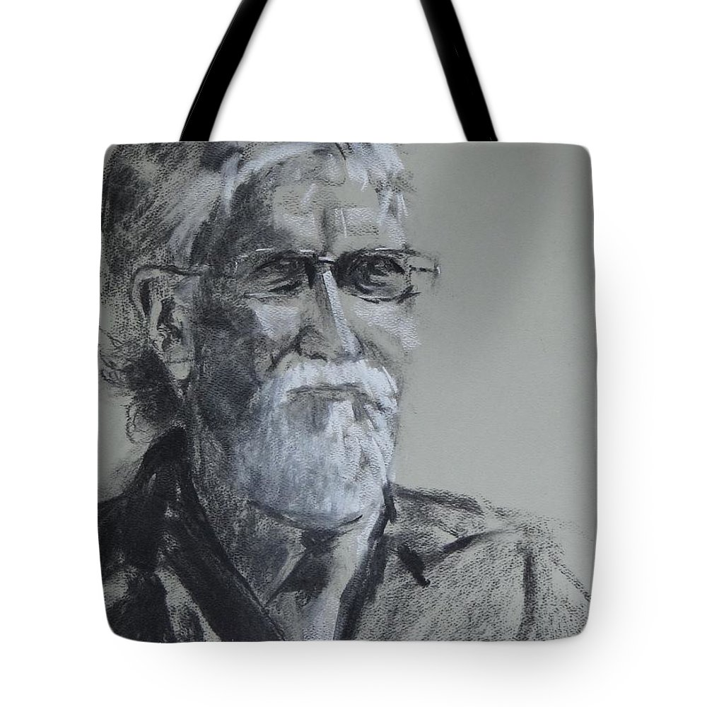 Charcoal Sketch Tote Bag featuring the painting Larry From Life by Carol Berning