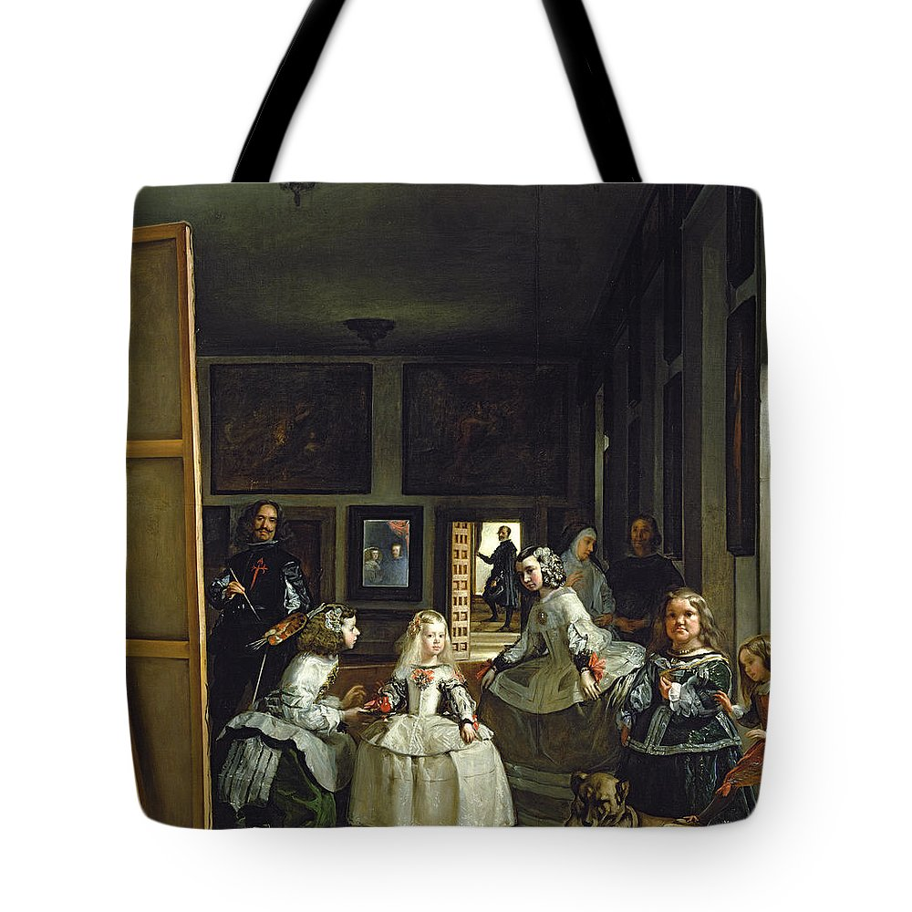 Velazquez Tote Bag featuring the painting Las Meninas Or The Family Of Philip Iv, C.1656 by Diego Rodriguez de Silva y Velazquez