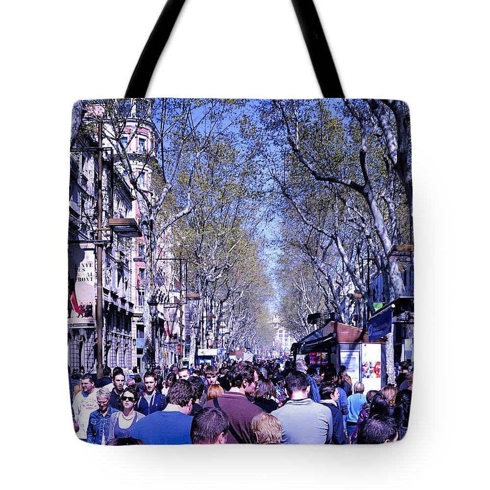 La Boqueria Tote Bag featuring the photograph Las Ramblas - Barcelona Spain by Jon Berghoff