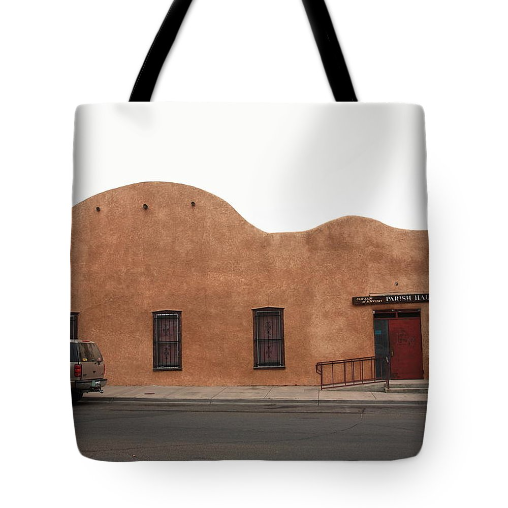 Adobe Tote Bag featuring the photograph Las Vegas New Mexico Church by Frank Romeo