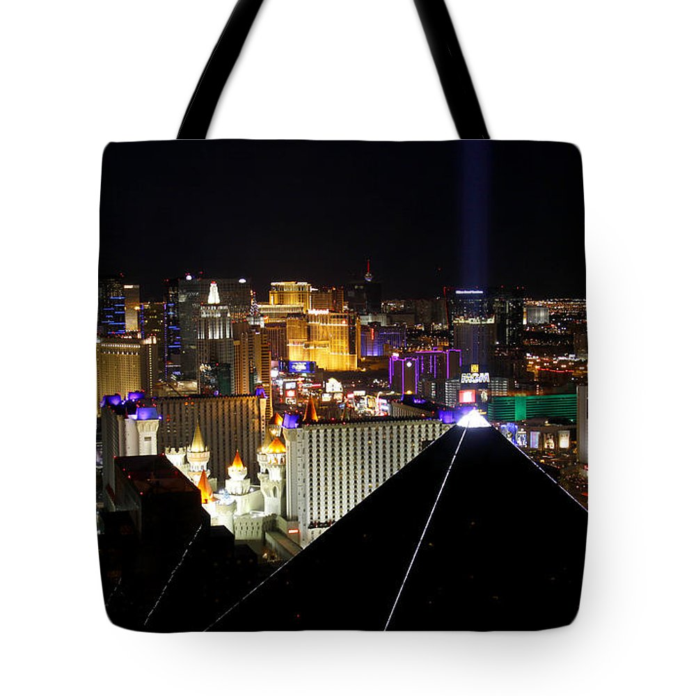 Las Vegas Tote Bag featuring the photograph Las Vegas Night Pano by Jim Robbins