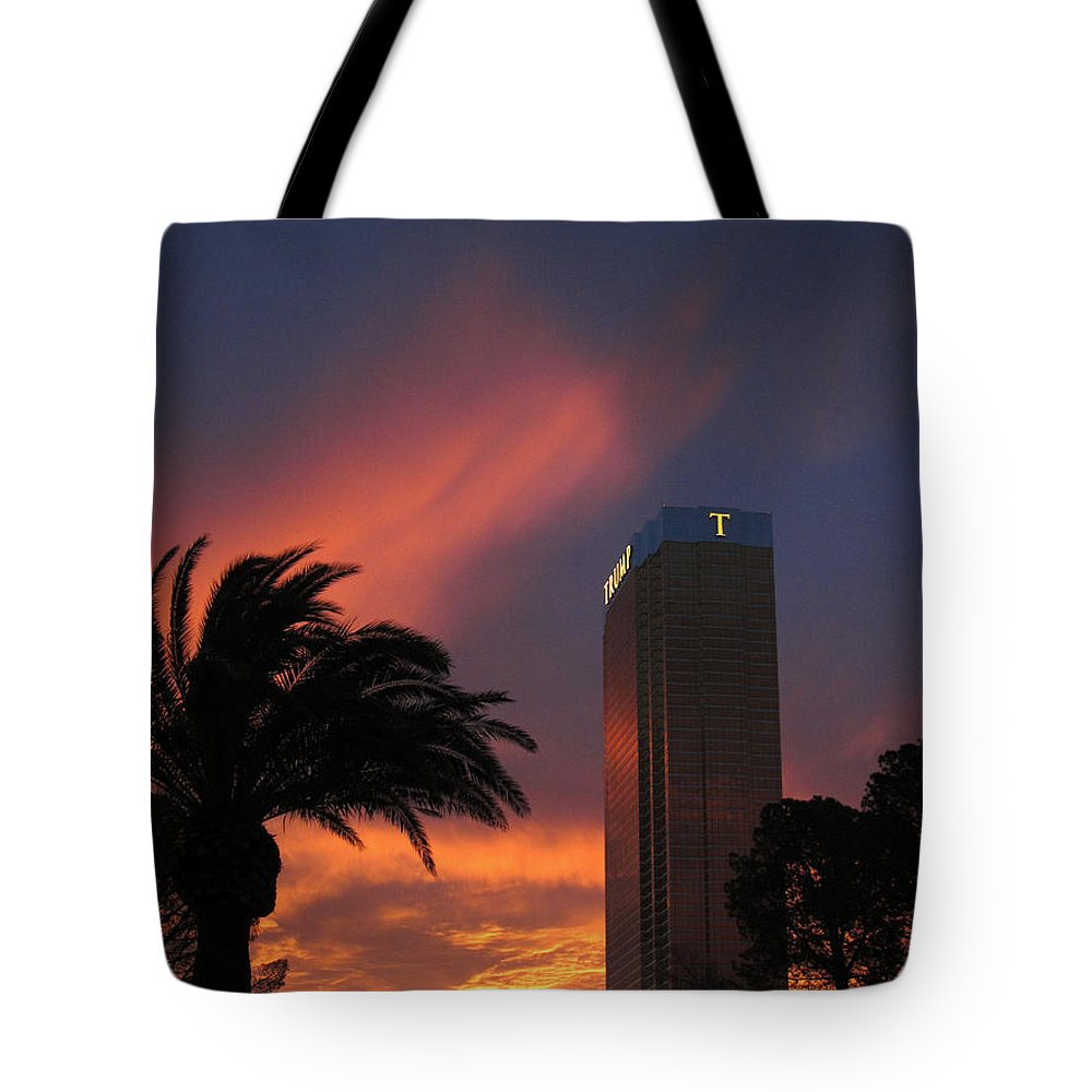 Trump Tote Bag featuring the photograph Las Vegas Sunset With Trump Tower by Debra Thompson