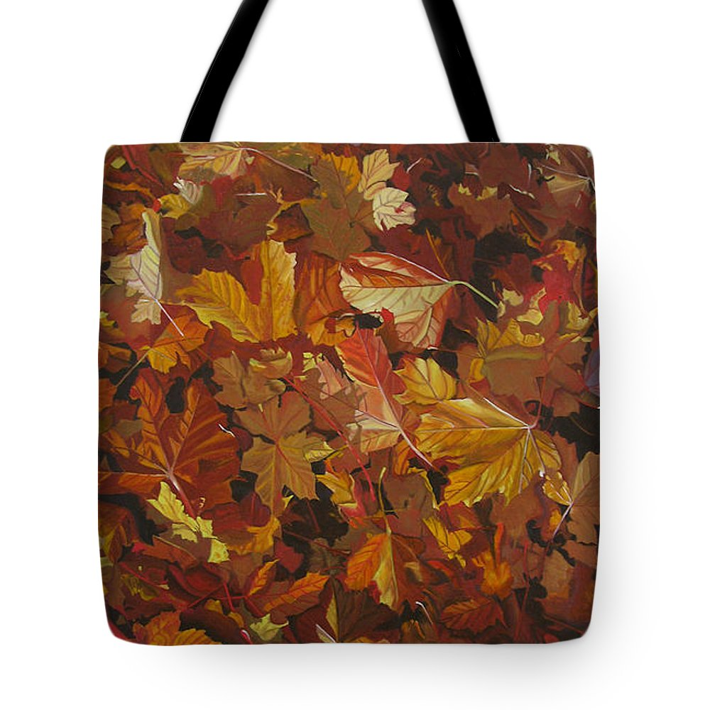 Fall Tote Bag featuring the painting Last Fall In Monroe by Thu Nguyen