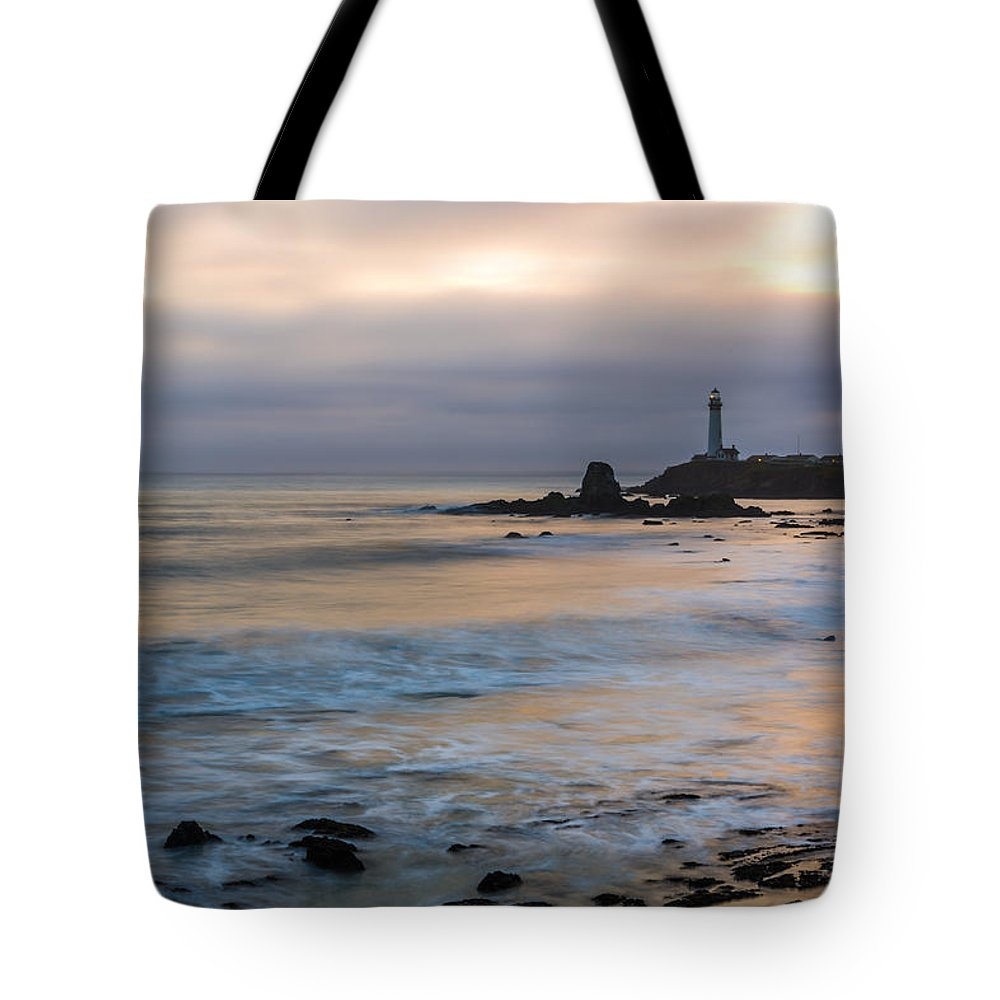 Pigeon Point Lighthouse Tote Bag featuring the photograph Last Light At Pigeon Point Lighthouse by Priya Ghose