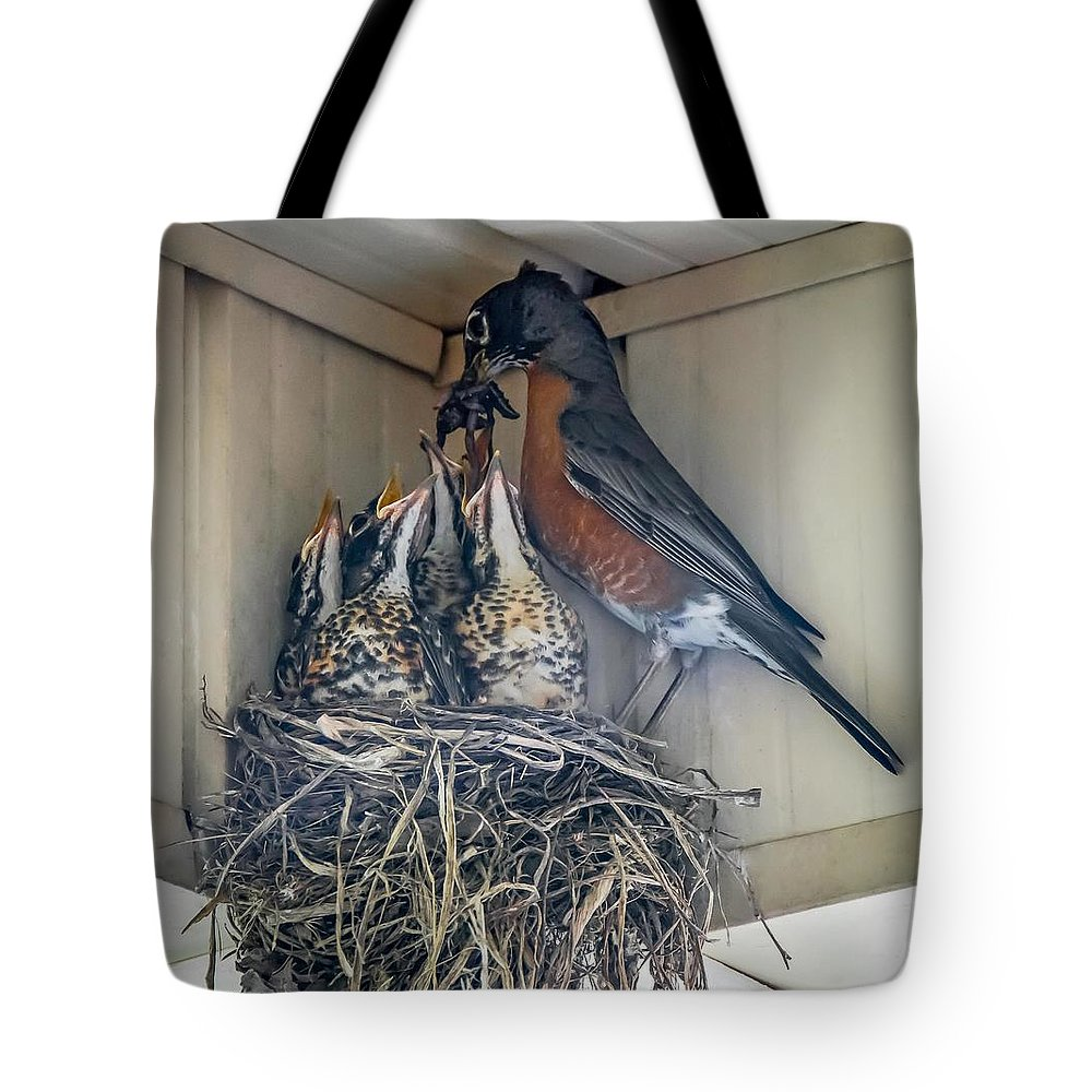 Bird Tote Bag featuring the photograph Last Meal At Home by Steve Harrington
