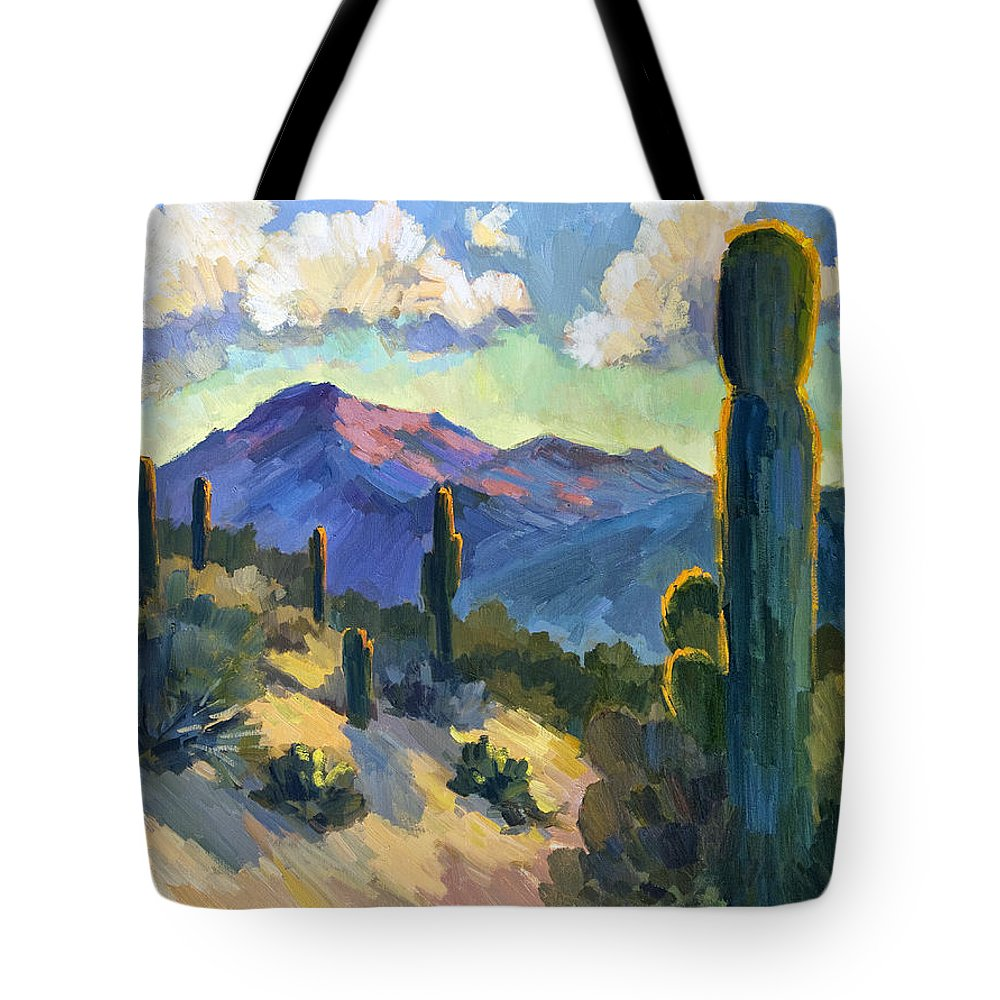 Late Afternoon Tote Bag featuring the painting Late Afternoon Tucson by Diane McClary