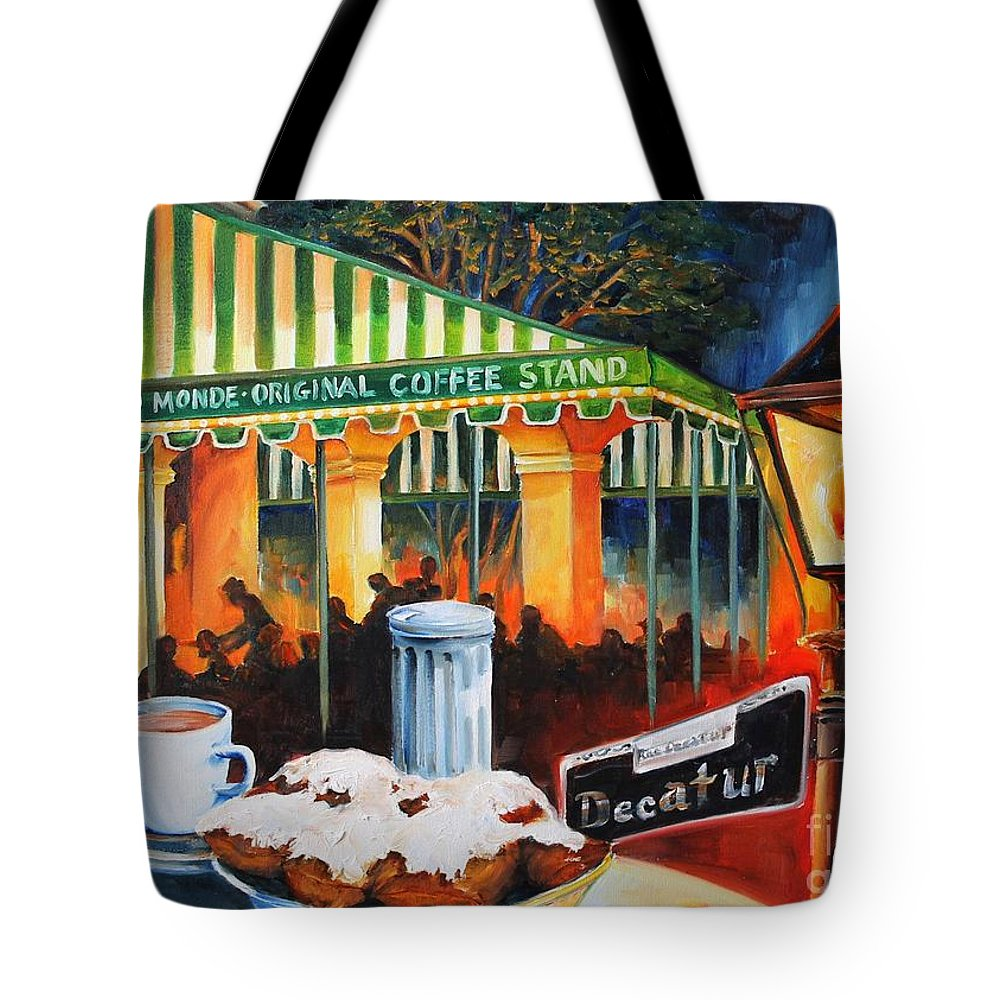 New Orleans Tote Bag featuring the painting Late At Cafe Du Monde by Diane Millsap
