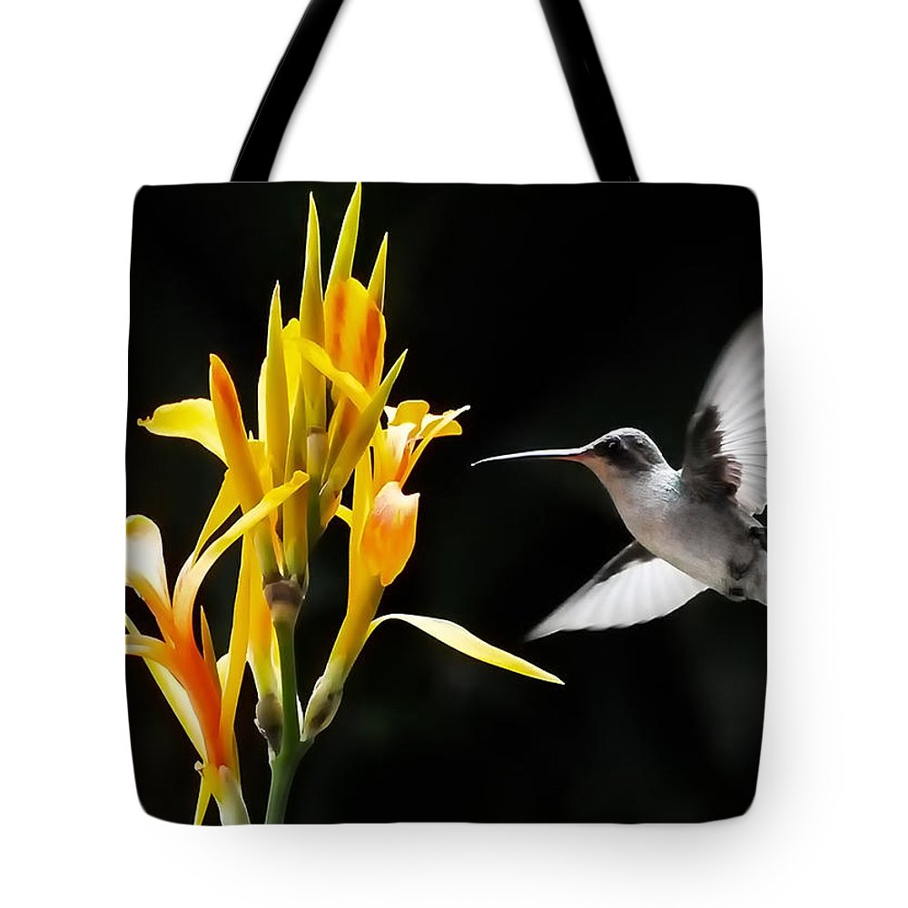 Black And White Hummingbirds Tote Bag featuring the photograph Late Night Dinner by David Perry Lawrence