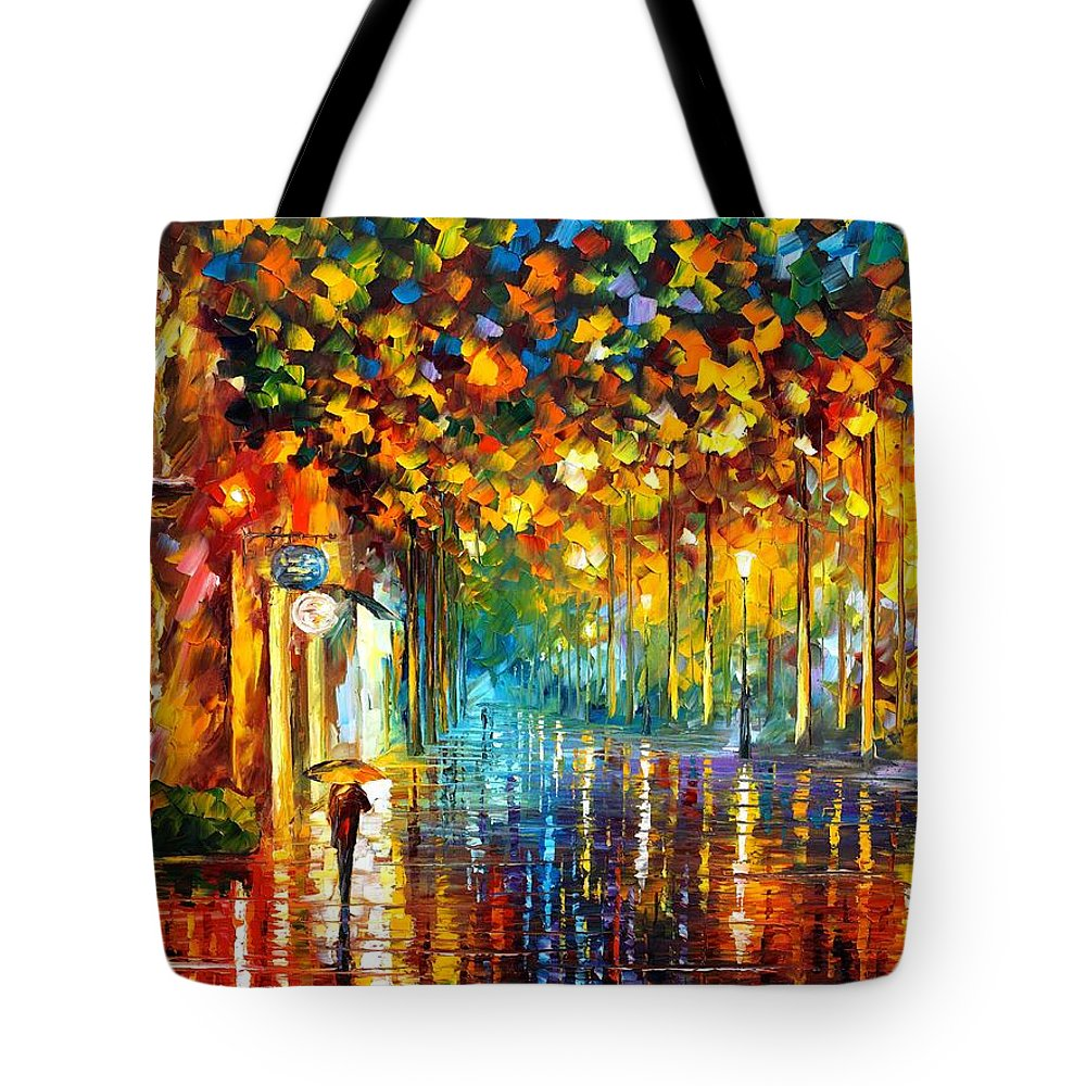 Afremov Tote Bag featuring the painting Late Stroll Miami by Leonid Afremov