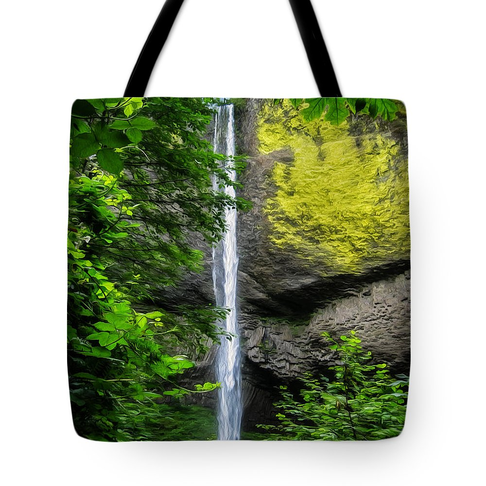 Latourelle Falls Tote Bag featuring the painting Latourelle Falls by John Haldane
