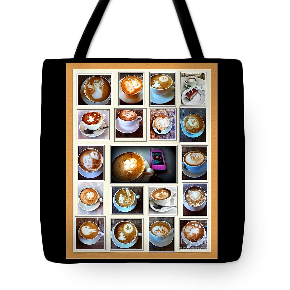 Coffee Tote Bag featuring the photograph Latte Art Collage by Susan Garren